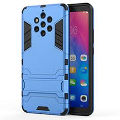 Silikon Hülle Handyhülle und Kunststoff Schutzhülle Tasche mit Ständer für Nokia 9 PureView Hellblau