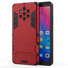 Silikon Hülle Handyhülle und Kunststoff Schutzhülle Tasche mit Ständer für Nokia 9 PureView Rot