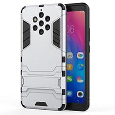 Silikon Hülle Handyhülle und Kunststoff Schutzhülle Tasche mit Ständer für Nokia 9 PureView Weiß