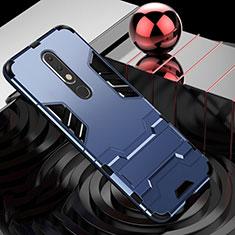 Silikon Hülle Handyhülle und Kunststoff Schutzhülle Tasche mit Ständer für Nokia X5 Blau