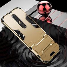Silikon Hülle Handyhülle und Kunststoff Schutzhülle Tasche mit Ständer für Nokia X5 Gold