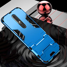 Silikon Hülle Handyhülle und Kunststoff Schutzhülle Tasche mit Ständer für Nokia X5 Hellblau