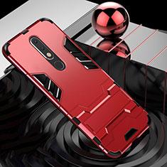 Silikon Hülle Handyhülle und Kunststoff Schutzhülle Tasche mit Ständer für Nokia X5 Rot