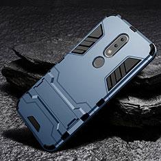Silikon Hülle Handyhülle und Kunststoff Schutzhülle Tasche mit Ständer für Nokia X6 Blau