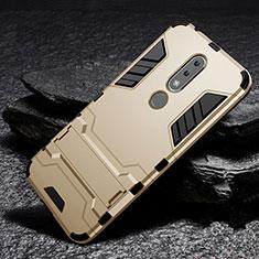 Silikon Hülle Handyhülle und Kunststoff Schutzhülle Tasche mit Ständer für Nokia X6 Gold