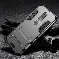 Silikon Hülle Handyhülle und Kunststoff Schutzhülle Tasche mit Ständer für Nokia X6 Grau