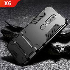 Silikon Hülle Handyhülle und Kunststoff Schutzhülle Tasche mit Ständer für Nokia X6 Schwarz