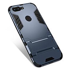 Silikon Hülle Handyhülle und Kunststoff Schutzhülle Tasche mit Ständer für OnePlus 5T A5010 Grau
