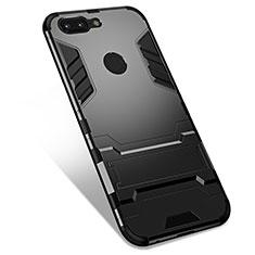 Silikon Hülle Handyhülle und Kunststoff Schutzhülle Tasche mit Ständer für OnePlus 5T A5010 Schwarz