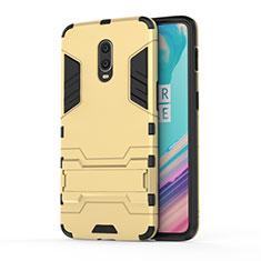 Silikon Hülle Handyhülle und Kunststoff Schutzhülle Tasche mit Ständer für OnePlus 7 Gold