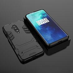 Silikon Hülle Handyhülle und Kunststoff Schutzhülle Tasche mit Ständer für OnePlus 7T Pro Schwarz