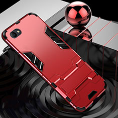 Silikon Hülle Handyhülle und Kunststoff Schutzhülle Tasche mit Ständer für Oppo A3 Rot