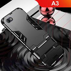 Silikon Hülle Handyhülle und Kunststoff Schutzhülle Tasche mit Ständer für Oppo A3 Schwarz