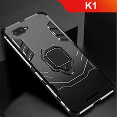 Silikon Hülle Handyhülle und Kunststoff Schutzhülle Tasche mit Ständer für Oppo K1 Schwarz