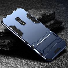 Silikon Hülle Handyhülle und Kunststoff Schutzhülle Tasche mit Ständer für Oppo K3 Blau