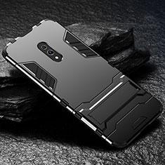 Silikon Hülle Handyhülle und Kunststoff Schutzhülle Tasche mit Ständer für Oppo K3 Schwarz