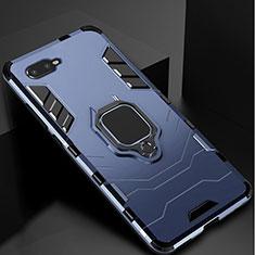 Silikon Hülle Handyhülle und Kunststoff Schutzhülle Tasche mit Ständer für Oppo R15X Blau