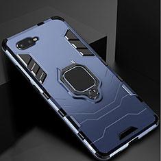 Silikon Hülle Handyhülle und Kunststoff Schutzhülle Tasche mit Ständer für Oppo R17 Neo Blau