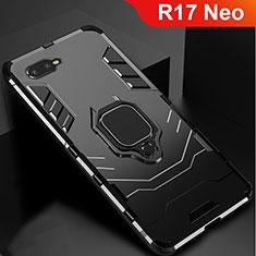 Silikon Hülle Handyhülle und Kunststoff Schutzhülle Tasche mit Ständer für Oppo R17 Neo Schwarz