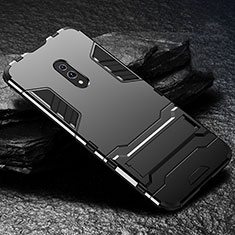 Silikon Hülle Handyhülle und Kunststoff Schutzhülle Tasche mit Ständer für Oppo Realme X Schwarz