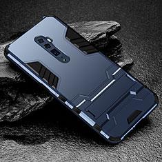 Silikon Hülle Handyhülle und Kunststoff Schutzhülle Tasche mit Ständer für Oppo Reno 10X Zoom Blau
