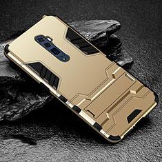 Silikon Hülle Handyhülle und Kunststoff Schutzhülle Tasche mit Ständer für Oppo Reno 10X Zoom Gold