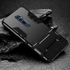 Silikon Hülle Handyhülle und Kunststoff Schutzhülle Tasche mit Ständer für Oppo Reno 10X Zoom Schwarz