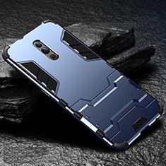 Silikon Hülle Handyhülle und Kunststoff Schutzhülle Tasche mit Ständer für Oppo Reno Blau
