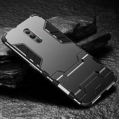 Silikon Hülle Handyhülle und Kunststoff Schutzhülle Tasche mit Ständer für Oppo Reno Schwarz