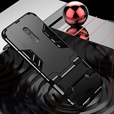 Silikon Hülle Handyhülle und Kunststoff Schutzhülle Tasche mit Ständer für Oppo Reno Z Schwarz