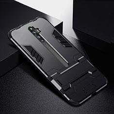 Silikon Hülle Handyhülle und Kunststoff Schutzhülle Tasche mit Ständer für Oppo Reno2 Z Schwarz