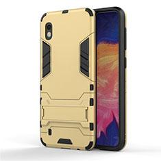 Silikon Hülle Handyhülle und Kunststoff Schutzhülle Tasche mit Ständer für Samsung Galaxy A10 Gold