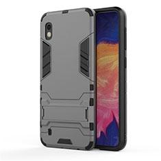 Silikon Hülle Handyhülle und Kunststoff Schutzhülle Tasche mit Ständer für Samsung Galaxy A10 Grau