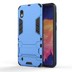 Silikon Hülle Handyhülle und Kunststoff Schutzhülle Tasche mit Ständer für Samsung Galaxy A10 Hellblau