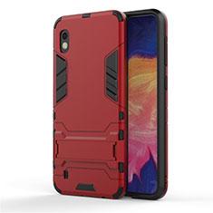 Silikon Hülle Handyhülle und Kunststoff Schutzhülle Tasche mit Ständer für Samsung Galaxy A10 Rot