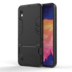 Silikon Hülle Handyhülle und Kunststoff Schutzhülle Tasche mit Ständer für Samsung Galaxy A10 Schwarz