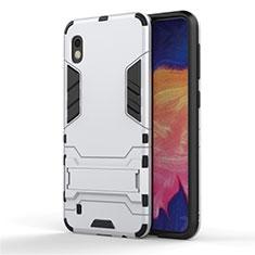 Silikon Hülle Handyhülle und Kunststoff Schutzhülle Tasche mit Ständer für Samsung Galaxy A10 Silber