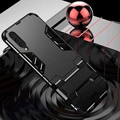 Silikon Hülle Handyhülle und Kunststoff Schutzhülle Tasche mit Ständer für Samsung Galaxy A70 Schwarz