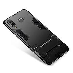 Silikon Hülle Handyhülle und Kunststoff Schutzhülle Tasche mit Ständer für Samsung Galaxy A8 Star Schwarz
