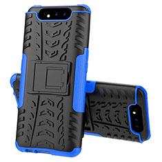 Silikon Hülle Handyhülle und Kunststoff Schutzhülle Tasche mit Ständer für Samsung Galaxy A80 Blau