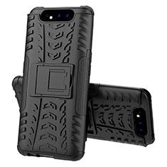Silikon Hülle Handyhülle und Kunststoff Schutzhülle Tasche mit Ständer für Samsung Galaxy A80 Schwarz