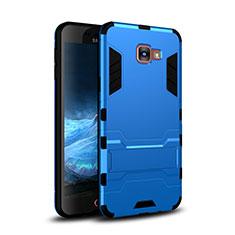 Silikon Hülle Handyhülle und Kunststoff Schutzhülle Tasche mit Ständer für Samsung Galaxy A9 Pro (2016) SM-A9100 Blau