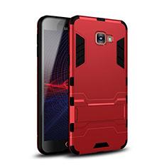 Silikon Hülle Handyhülle und Kunststoff Schutzhülle Tasche mit Ständer für Samsung Galaxy A9 Pro (2016) SM-A9100 Rot