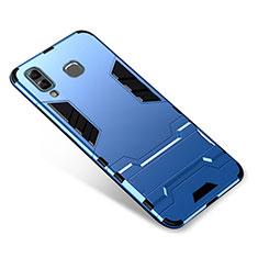 Silikon Hülle Handyhülle und Kunststoff Schutzhülle Tasche mit Ständer für Samsung Galaxy A9 Star SM-G8850 Blau