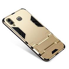 Silikon Hülle Handyhülle und Kunststoff Schutzhülle Tasche mit Ständer für Samsung Galaxy A9 Star SM-G8850 Gold