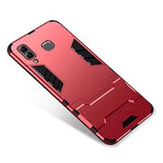 Silikon Hülle Handyhülle und Kunststoff Schutzhülle Tasche mit Ständer für Samsung Galaxy A9 Star SM-G8850 Rot