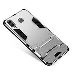 Silikon Hülle Handyhülle und Kunststoff Schutzhülle Tasche mit Ständer für Samsung Galaxy A9 Star SM-G8850 Silber