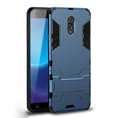 Silikon Hülle Handyhülle und Kunststoff Schutzhülle Tasche mit Ständer für Samsung Galaxy C8 C710F Cyan