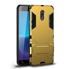 Silikon Hülle Handyhülle und Kunststoff Schutzhülle Tasche mit Ständer für Samsung Galaxy J7 Plus Gold