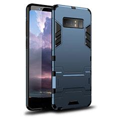 Silikon Hülle Handyhülle und Kunststoff Schutzhülle Tasche mit Ständer für Samsung Galaxy Note 8 Duos N950F Blau
